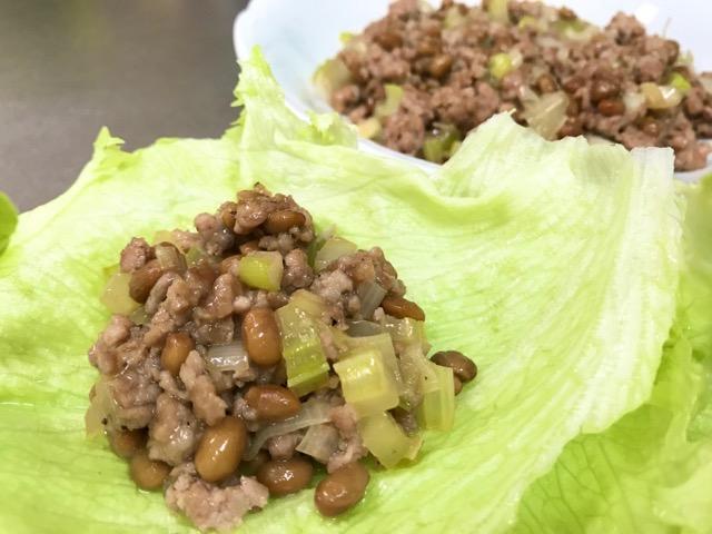 ひき肉と納豆の炒めもの